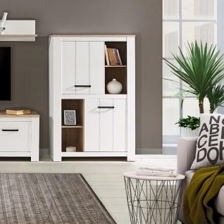 Forte Elara Highboard ERXS413 für Ihr Wohnzimmer oder Esszimmer Schrank mit Türen und offenen Fächern mit Korpus und Front in Weiß matt Dekor und Absetzungen in Bianco Eiche Nachbildung - Vorschau 3