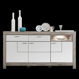 Wohn-Concept Granada Sideboard Type 21 mit drei Türen zwei Schubkästen und einem offenen Fach für Ihr Wohnzimmer oder Esszimmer Stauraumelement inkl. LED-Beleuchtung Korpus Haveleiche Nachbildung Front wählbar