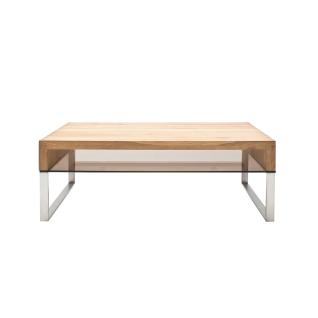 MCA Furniture Couchtisch Hilary 58864AZ7 mit Tischplatte in Asteiche Massivholz mit Ablage aus Sicherheitsglas bronze farbig mit Metallbeinen in Edelstahl-Optik für Ihr Wohnzimmer ***am Lager***