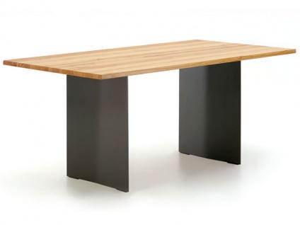 Wimmer Zweigl Wangenesstisch Z25 mit Stahlwangen massiv geölt Tischplattenausführung Größe Kantenprofiltyp Ansteckplatte und Ansteckplattentyp wählbar Tisch für Ihre Küche oder Ihr Esszimmer