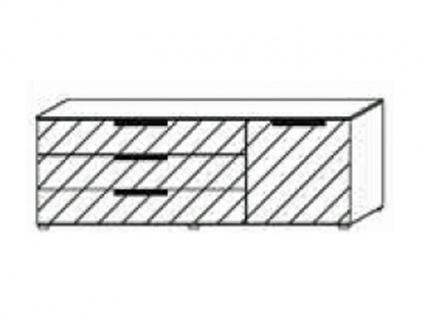 Kommode mit 1 Tür rechts und 3 Schubkästen links, Front Dekor matt