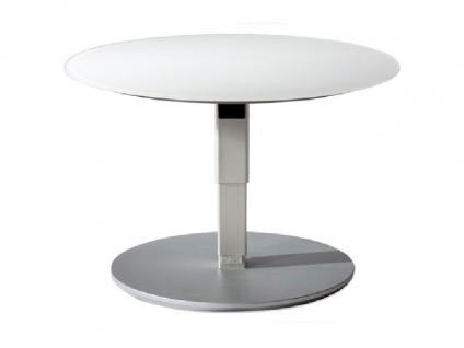Vierhaus Couchtisch 1866 runde Glas-Tischplatte weiß matt höhenverstellbar mit ILse-Button-Tele-Lift Mechanik - Vorschau 4