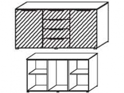 Schrank-Kommode mit 2 Türen außen und 4 Schubkästen mittig, Front Dekor matt