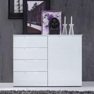 Forte Sienna Kommode SNNK221 mit einer Tür und vier Schubkästen Korpusfarbe Weiß Front Weiß Hochglanz Dekor Sideboard für Ihr Wohnzimmer Esszimmer - Vorschau 2
