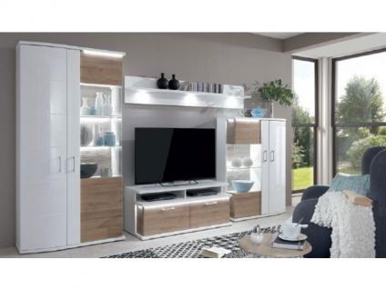 IDEAL-Möbel Wohnwand City Wohnwand 01 4 teilig inklusive Korpusfrontbeleuchtung Ausführung Weiß Melamin Wohnzimmer