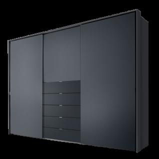 Staud Möbel Media Multi Schwebetürenschrank mit 5 Schubkästen Korpus und Schubkastenfront in Dekor Türen verglast Größe und Farben wählbar - Vorschau 4