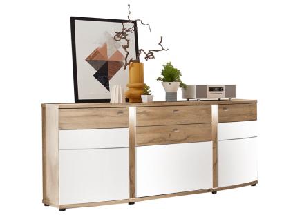 Wohn-Concept Terra Plus Sideboard 40 40 RW 20 für Ihr Wohnzimmer oder Esszimmer mit zwei Türen und drei Schubkästen inkl. LED-Beleuchtung Ausführung Weiß matt / Eiche Altholz Nachbildung