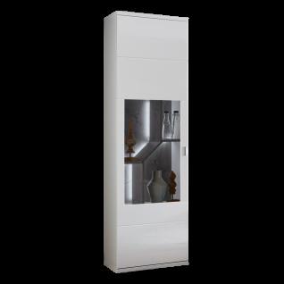 Ideal-Möbel Taviano Vitrine Type 01 moderne Standvitrine für Ihr Wohnzimmer oder Essimmer mit einer Glastür mit integrierter LED Beluchtung Ausführung Weiß mit Hochglanzfronten und Absetzungen in Marmor Optik