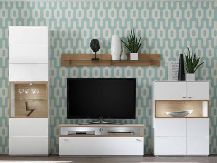 Quadrato Milano Wohnkombination 411N50 oder 411E50 4-teilige Wohnwand in weiß mit wählbarer Absetzung Kombination für Wohnzimmer mit 2 Vitrinen 1 Lowboard und 1 Wandboard Beleuchtung wählbar