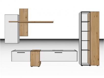 Gwinner Blogg BG1H oder BG1H-SV Vorschlagskombination fünfteilig mit Vitrine Hängeunterteilen und Wandbord Lack-matt- und Akzentausführung wählbar