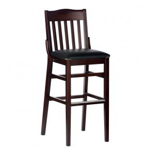 DKK Klose Barhocker 101142 mit gepolsterter Sitzfläche Gestell und Rückenlehne Massivholz in verschiedenen Beiztönen wählbar Barstuhl für Esszimmer Bar und Partyraum Bezug wählbar