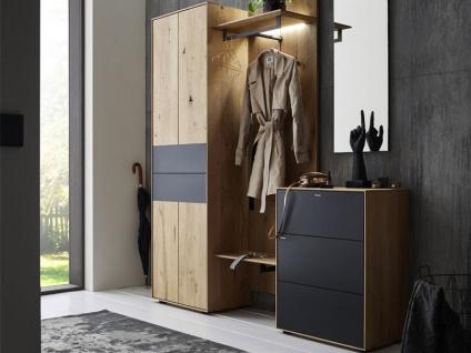 Hartmann Runa Garderobe Vorschlagskombination 112 vierteilig aus Massivholz Kerneiche natur gebürstet mit Applikation Metall anthrazit Garderobe für Diele Beleuchtung wählbar