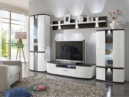 IDEAL-Möbel Cabana Wohnkombination 189 inklusive Frontbeleuchtung Wohnwand für Wohnzimmer in verschiedenen Ausführungen und mit Vitrineninnenbeleuchtung wählbar