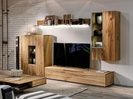 Voglauer V Alpin Vorschlag 308 Wohnwand echtholzfurnierte Anbauwand für Wohnzimmer V-Alpin mit Hängeelementen Mediaelement und Lowboard Beleuchtung wählbar