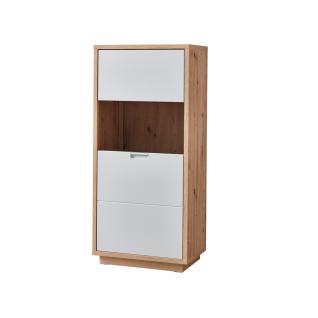 Ideal-Möbel Cala Vitrine 13 in Eiche Artisan Melamin kombiniert mit Weiß matt Folie Rückwände in Eiche Artisan 3D geschroppt