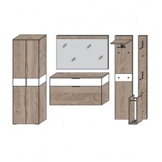 Wittenbreder Novara Garderobenkombination Nr. 02 komplette Garderobe für Ihren Flur und Eingangsbereich 6-teilige Vorschlagskombination im Wildeiche und Glas Weiß mattiert Griffe und Metallteile in Schwarz - Vorschau 4