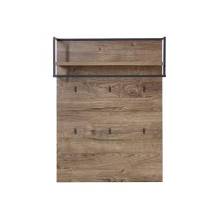 Wohn-Concept Manhattan Garderobenpaneel 6008VV40 mit Boden Kleiderstange und sechs Kleiderhaken in Haveleiche Cognac Nachbildung und Metall Anthrazit