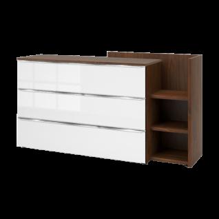Nolte Möbel Concept Me 700 Kommode Anstellregal Korpus Holz-Oberplatte Front Weißglas chromfarbenen Griffleisten LED Anstellkommode