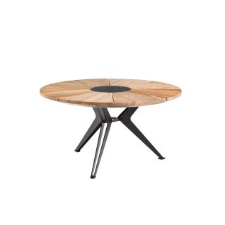 Niehoff Garden Nexor Gartentisch G543 Rundtisch mit Massivholztischplatte in Teak mit Mitteleinlage und Stern-Gestell Stahl anthrazit pulverbeschichtet für Ihren Garten Durchmesser und Holzausführung wählbar