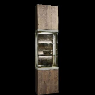 Hartmann Brik Standelement links/rechts in Ausführung Kerneiche Tabak Massivholz gebürstet mit Betonrahmen und Glasausschnitt