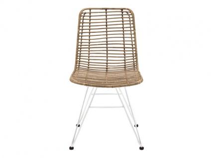 Die Faktorei by Infantil Rattanstuhl ohne Armlehnen mit Sitzschale in Rattan natur und Metall-Gestell in weiß