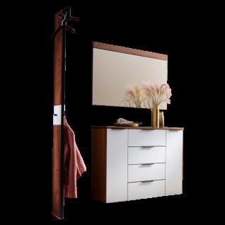 Wittenbreder Novara Garderobenkombination Nr. 05 komplette Garderobe für Ihren Flur und Eingangsbereich 3-teilige Vorschlagskombination im Nussbaum und Glas Weiß mattiert Griffe und Metallteile in Schwarz