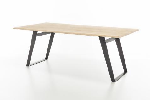 Standard Furniture Esstisch Ohio Gestell 3 Spange eckig schwarz Rundung Platte oben mit fester Tischplatte rechteckig massiv Tisch für Esszimmer Holzausführung und Größe wählbar