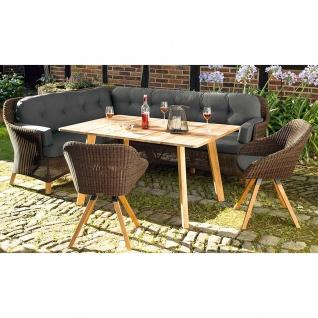Niehoff Garden Nizza Loungegruppe mit Dining-Lounge und zwei Stühlen mit Geflecht in Viro red pine und mit Tisch in Teak Massivholz 6-teiliges Lounge-Set inkl. Sitz- und Rückenkissen in Stoff Sunproof basalt für Ihren Garten oder Terrasse - Vorschau 2