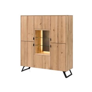 Quadrato Lissabon Highboard 40523048 in Wildeiche bianco Massivholz mit Metallgestell schwarz mit vier Türen und einem offenen Fach