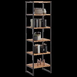 Niehoff Atelier 5er Regal 5874-39-000 in Charakter-Eiche Massivholz geölt und gebürstet Leiterwangen und Griffen in Stahl schwarz pulverbeschichtet