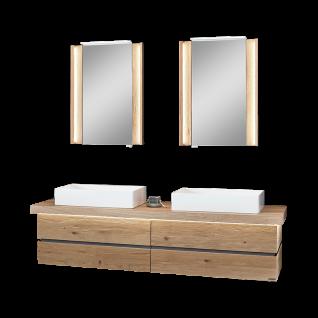 Thielemeyer Fresh Badmöbel-Set 800064 in Wildeiche massiv mit grauen Absetzungen mit Unterschrank Waschtischplatte und zwei Spiegelschränken
