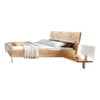 Thielemeyer Loft Komfort-Liegenbett mit Holzkopfteil in der Korpusausführung Eiche Massivholz Liegefläche wählbar optional mit Anstellpaneele mit Colorglas-Rückwand in weiß rechts und links mit oder ohne Beleuchtung