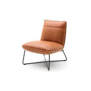 MCA furniture Lounge Sessel Washington im Vintage Style Bezugsfarbe des Stuhls und des Hockers wählbar mit Gestell in X-Kufe ideal für Ihr Wohnzimmer