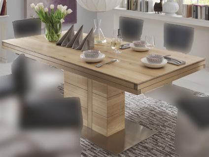 Wimmer Atria F4-60 Esstisch in verschiedenen Längen und Breiten wählbar Massivholz Tischplatte mit Synchronauszug Verlängerungsplatte ca. 60 cm für Esszimmer und Küche