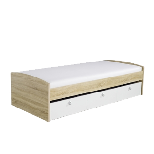 Rauch Packs Point Umbauliege mit 3 Schubkästen Liegefläche ca. 90 x 200 cm Farbausführung alpinweiß Absetzungen Dekor- Druck Eiche Sonoma