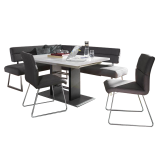 K+W Silaxx Essgruppe Aventus 4183 vierteilig bestehend aus einer modernen Eckbank und zwei Stühlen mit Kufen aus der Modellreihe 6133 und einem Stoffbezug in der Farbe darkgrey aus 100 % Polyester und einem Funktionstisch mit einer Platte in Lack weiß und
