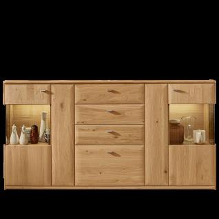 Wöstmann Bari 3000 Sideboard 2841 mit 3 Schubkästen und 1 Auszug sowie 4 Türen in Europäischer Wildeiche Massivholz, soft gebürstet