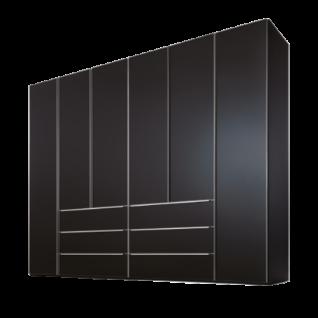 Nolte Möbel Marcato 2.1 Drehtürenschrank 6-türig mit 6 Schubkästen Korpus und Front Basalt und Griffleisten alu-matt optional Vollauszug Schubkästen