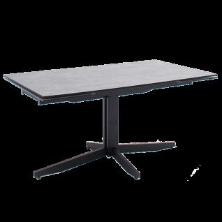 MCA furniture Esstisch Rimini Tischplatte Betonoptik HPL/ Sicherheitsglas Metallgestell schwarz Tisch mit Stirnauszug ca. 160 bis 240 cm