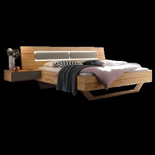 Thielemeyer Lava Komfort-Liegenbett mit Kufe und Bettkopfteilpolster in Kunstleder grau Ausführung Naturbuche Massivholz optional mit 2 Hängekonsolen und LED-Bettkopfteil-Beleuchtung Liegefläche wählbar