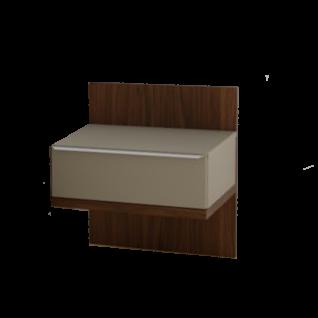 Nolte Möbel concept me 500 Nachtkommoden mit Glas-Oberplatte für Concept me 500 Bett 1 bestehend aus Paneel mit Ablageboden in Macadamia-Nussbaum-Nachbildung und Aufsatz-Nachtschrank Korpus in Terra matt Schubkastenfront in Fangoglas in Breite 50 cm