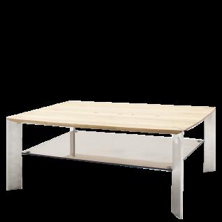 MCA Furniture Couchtisch Nelia 120 mit Platte aus Asteiche Massivholz und Ablage aus bronzefarbigem Sicherheitsglas Beine aus Metall in Edelstahl-Optik