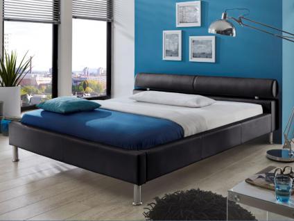 Meise Möbel ANELLO Polsterbett mit Kunstlederbezug in weiß schwarz oder braun Kopfteil mit Kopfteilrolle Metallfüße in Chromoptik Liegefläche wählbar - Vorschau 3