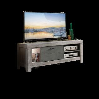 Wohn-Concept Granada Lowboard Type 30 mit einem Schubkasten und drei offenen Fächern für Ihr Wohnzimmer oder Esszimmer Lowboard inkl. LED-Beleuchtung Korpus Haveleiche Nachbildung Front wählbar
