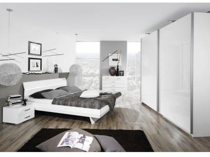 Rauch Select Tira Schlafzimmer 2-teilig mit Schwebetürenschrank in Korpus alpinweiß Front Hochglanz weiß Bett in Hochhlanz weiß optional mit Nachttischen
