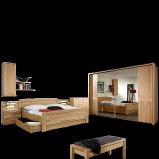 Wiemann Münster Schlafzimmer Kompaktbett mit Bettschubkasten Schwebetürenschrank Nachtschränke Hängeschrank Kombikommode in Eiche teilmassiv