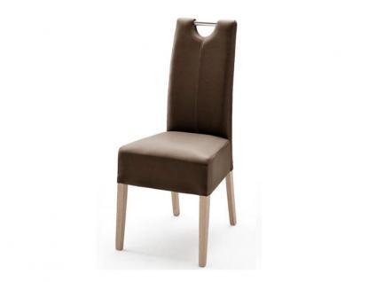 MCA Direkt Stuhl Enya im Lederlook braun 2er Set Polsterstuhl für Wohnzimmer und Esszimmer Ausführung 4 Fuß Massivholzgestell und Chromgriff