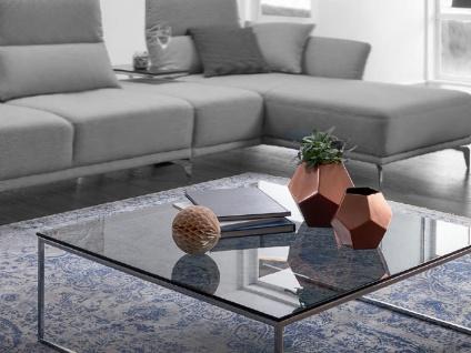 Willi Schillig Couchtisch LR95 Tischprogramm 40024 Tischplatte quadratisch in Rauchglas Stahluntergestell in verschiedenen Ausführungen