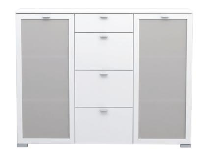 FORTE Girona Kommode GRXV331 mit vier Schubkästen und zwei Glastüren Sideboard für Ihr Schlafzimmer Wohnzimmer oder Esszimmer in wählbarer Ausführung