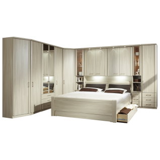 Wiemann Luxor 3&4 Schlafzimmer Doppelbett mit Bettkasten Bettbrücke mit Beleuchtung und Anbauschrank